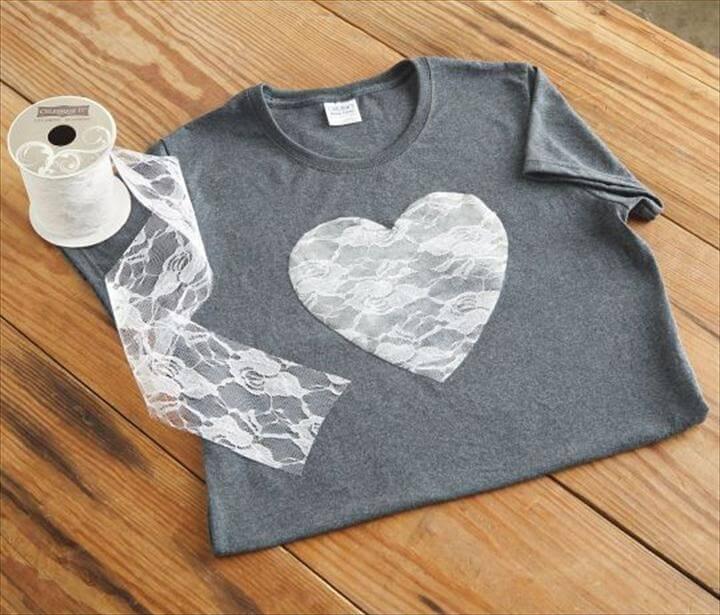 lace heart tshirt