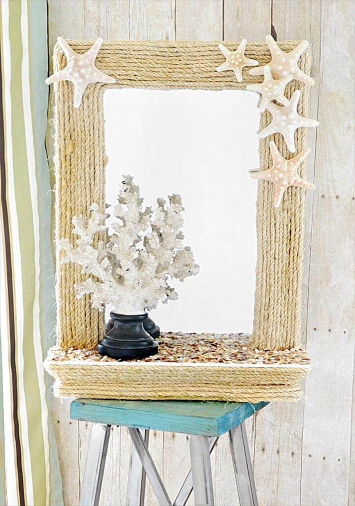 Coastal Rope Mirror Summer Seashell Decor Ideas