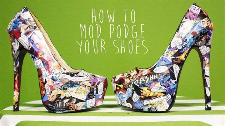 DIY Comic Book Mod Podged Shoes