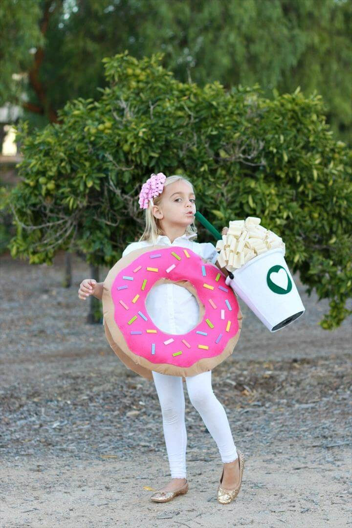 DIY coffee and donut costume