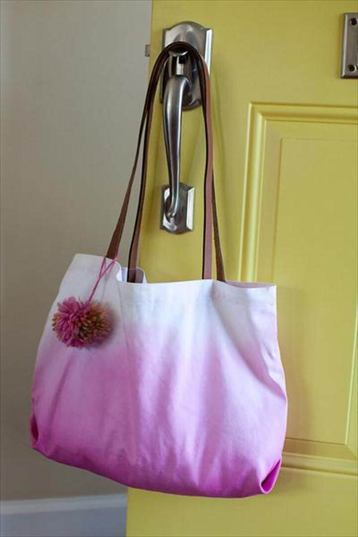 Dip Dye Pom Pom diy canvas bag tote
