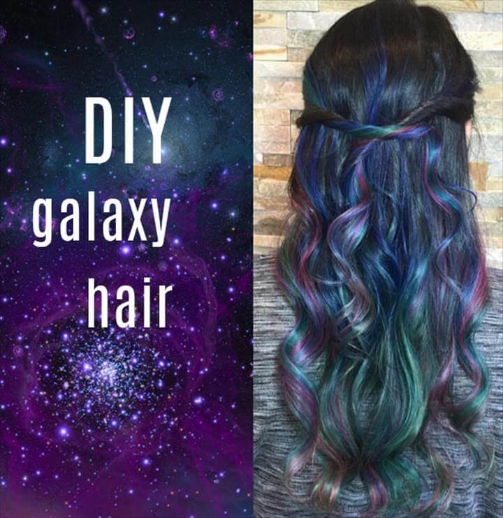 DIY Galaxy Crafts - DIY Galaxy hair tutorial - Galaxy DIY Projects for Your Room,