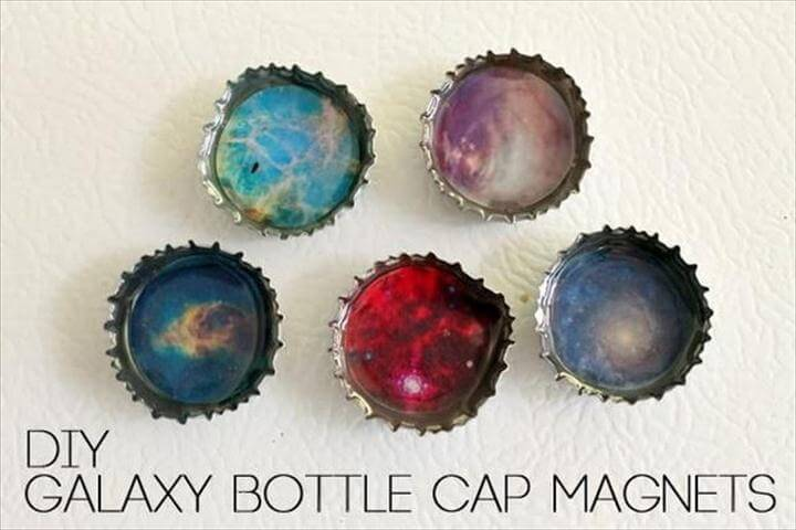 DIY Galaxy Bottle Cap Magnets