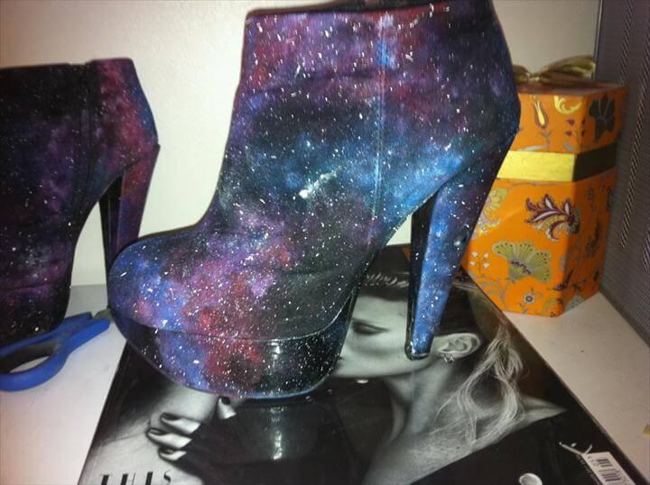 DIY galaxy heeled boots