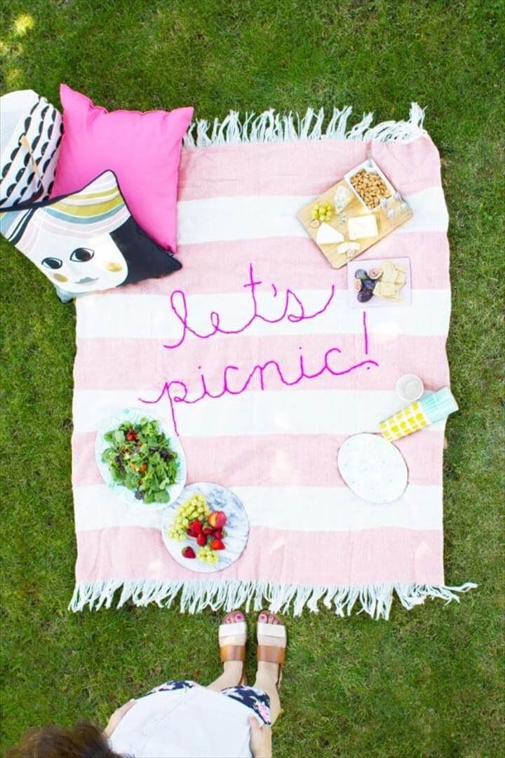 Free Embroidery Patterns - DIY Giant Embroidery Picnic Blanket - Best Embroidery Projects