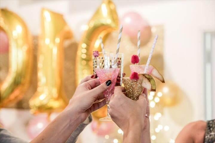 DIY add glitter to your wedding Easy DIY Glitter Champagne Flutes