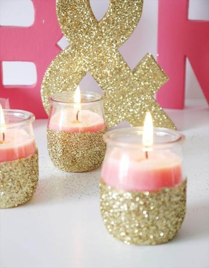 DIY glitter candleholders