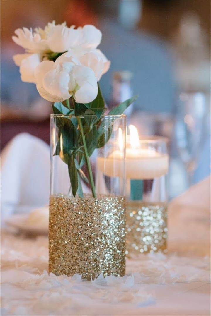 Simple glitter dipped vases