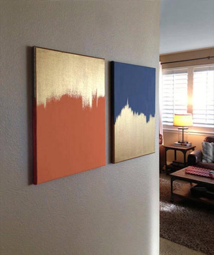 diy wall art, wall art design, gold paint wall art