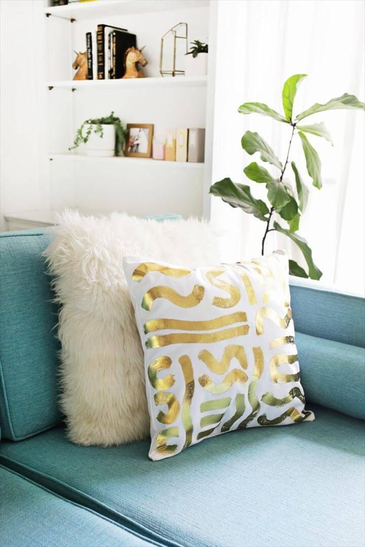 Gold foil pillow pattern