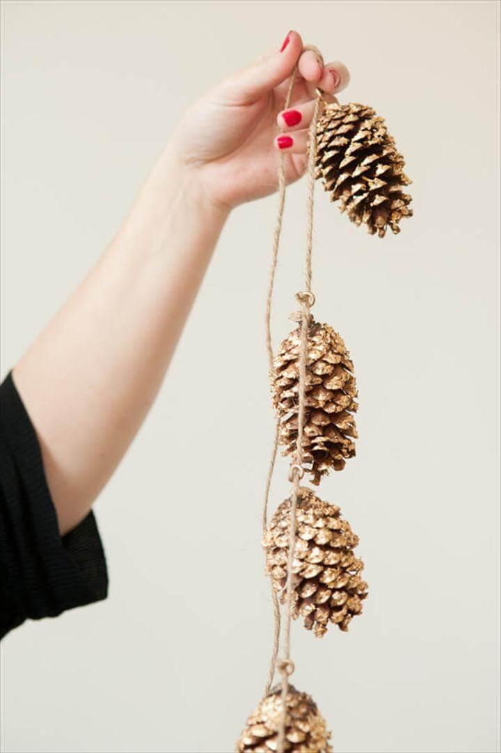 Gold Leaf Pine Cone Garland, diy garland, garland ideas, DIY Gold Leaf Projects for Fall