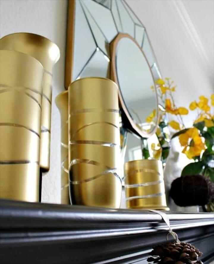 DIY Home Decor Crafts :DIY Vase : DIY Gold Striped Vases