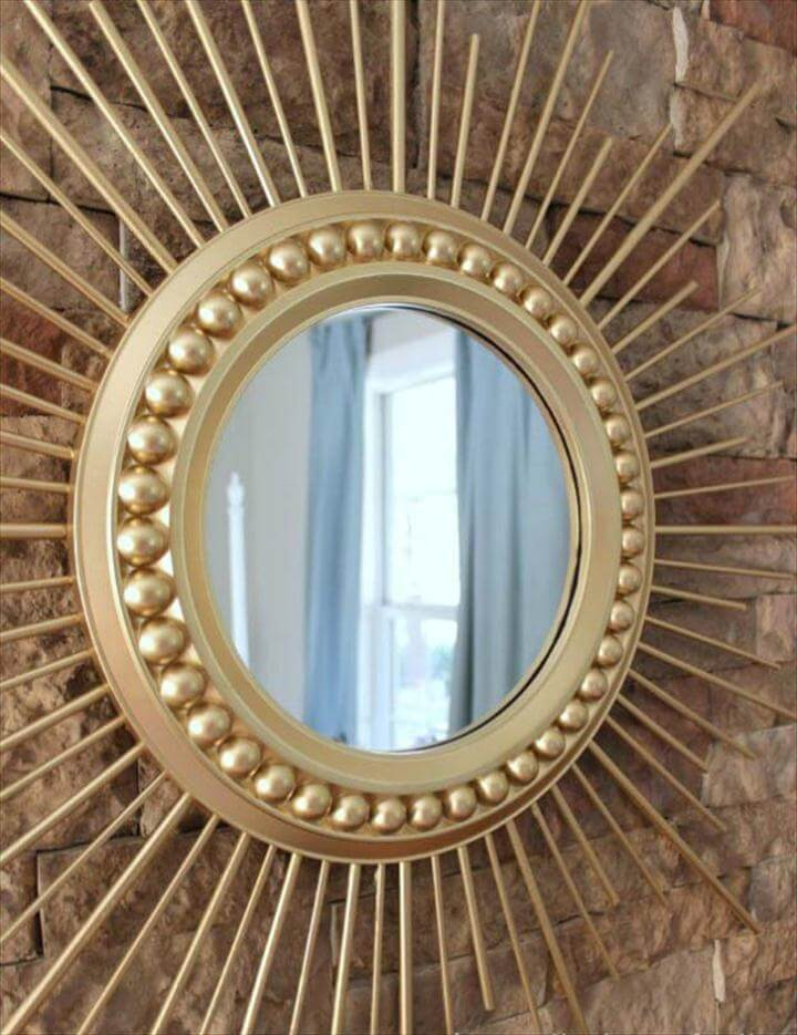 DIY Gold Sunburst Mirror, Gold DIY Projects and Crafts - DIY Gold Sunburst Mirror - Easy Room Decor, Wall