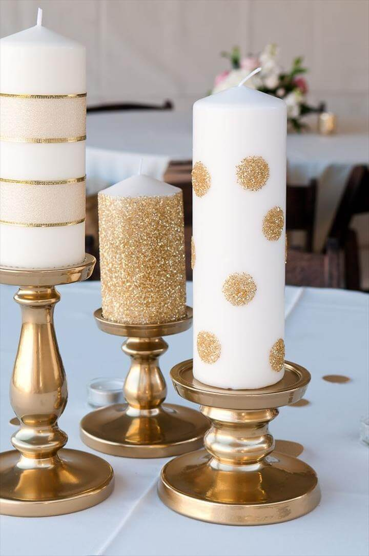 Life with Fingerprints: Use glue dots and add glitter to Ikea candles, spray paint