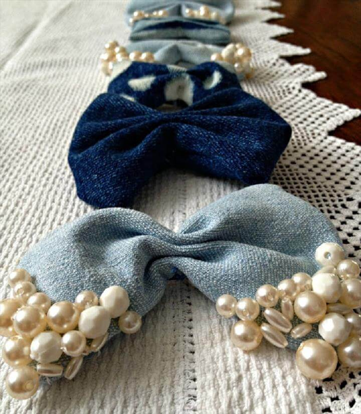 DIY Hair Denim Bows