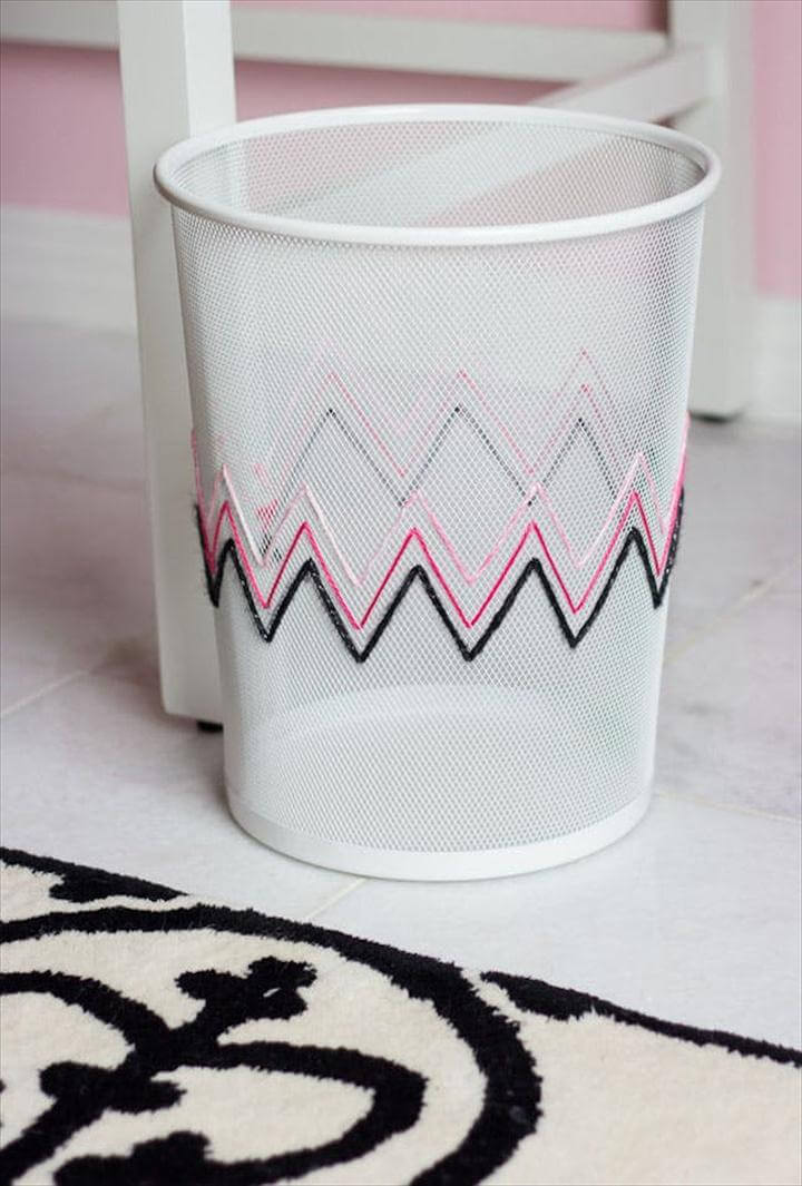 DIY Embroidered Waste Basket
