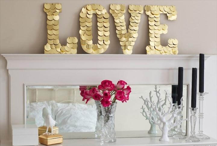 love sign mantel