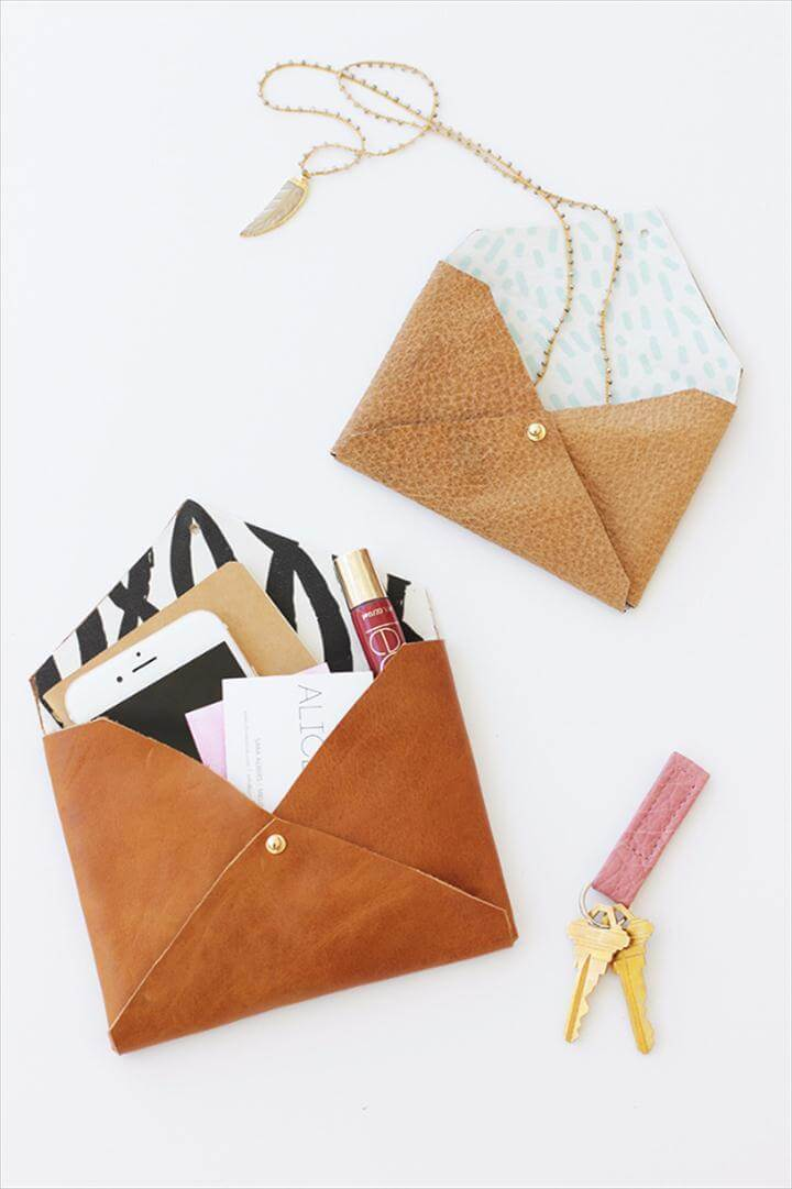Quickest DIY Gifts You Can Make - DIY Leather Envelope Clutch - Easy and Quick
