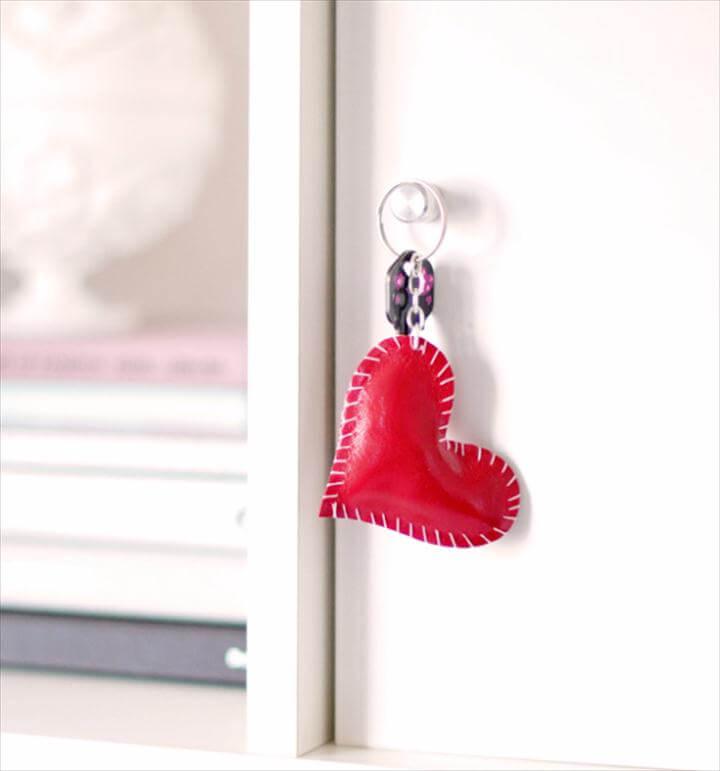 Best DIY Valentines Day Gifts - DIY Leather Heart Keyring - Cute Mason Jar Valentines Day
