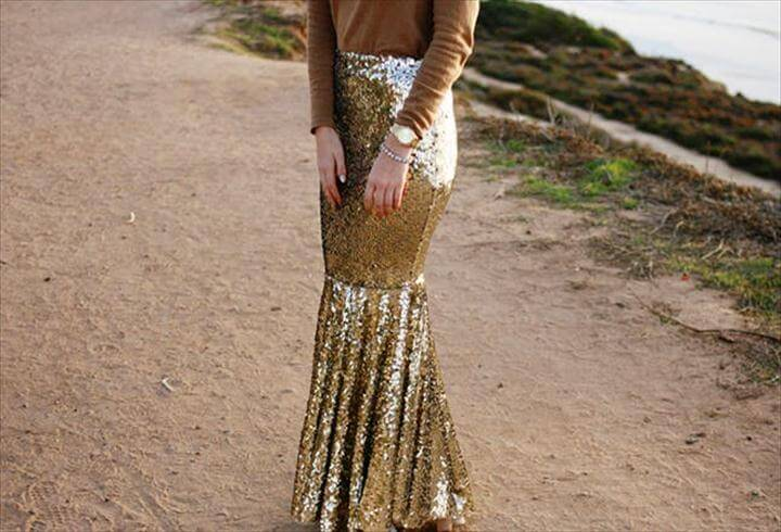 Sequin Fit 'n' Flare Skirt