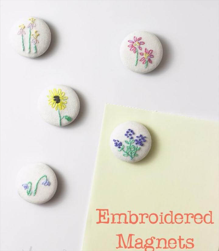 DIY Magnets With Hand Embroidery