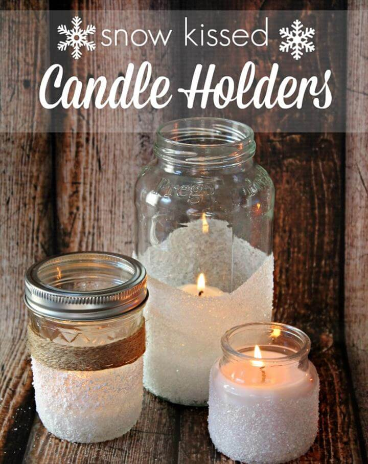 Easy Decorative Snow Kissed Candle Holders