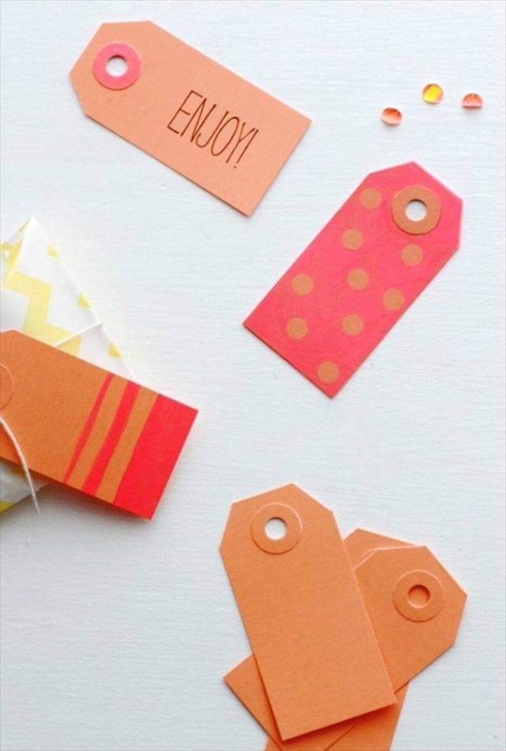 DIY: Neon Color Block Gift Tags