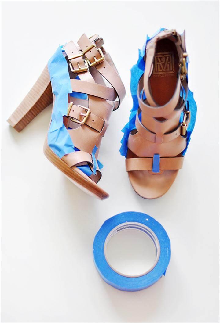 Neon Shoes DIY - paint leather shoes