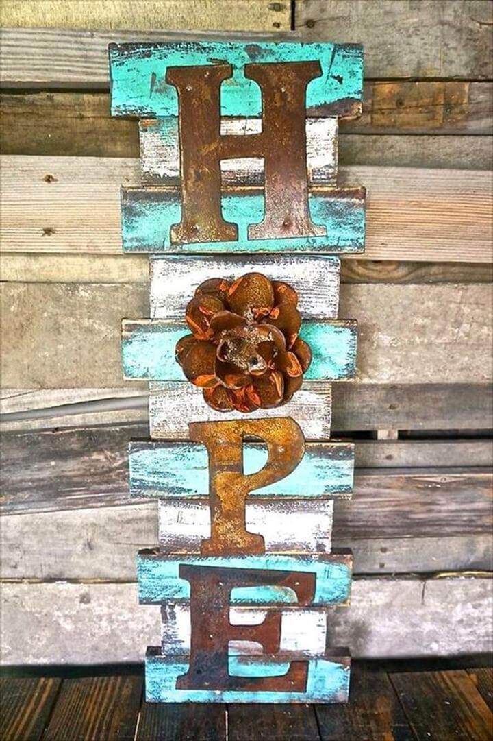 Hope Wood Pallet Sign