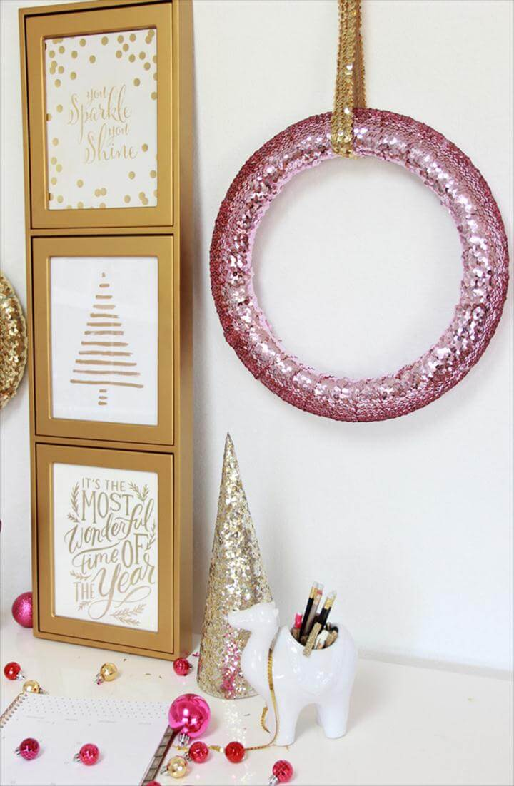 diy wreath, sequin wreath design