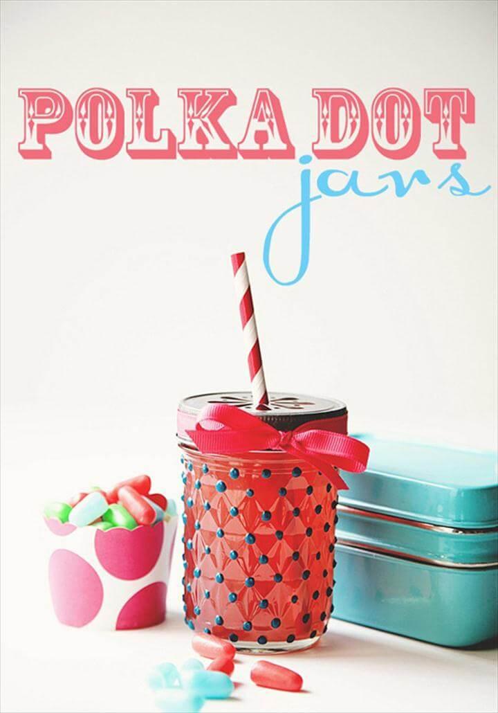 Cute DIY Mason Jar Ideas - Polka Dot Jars - Fun Crafts, Creative Room Decor
