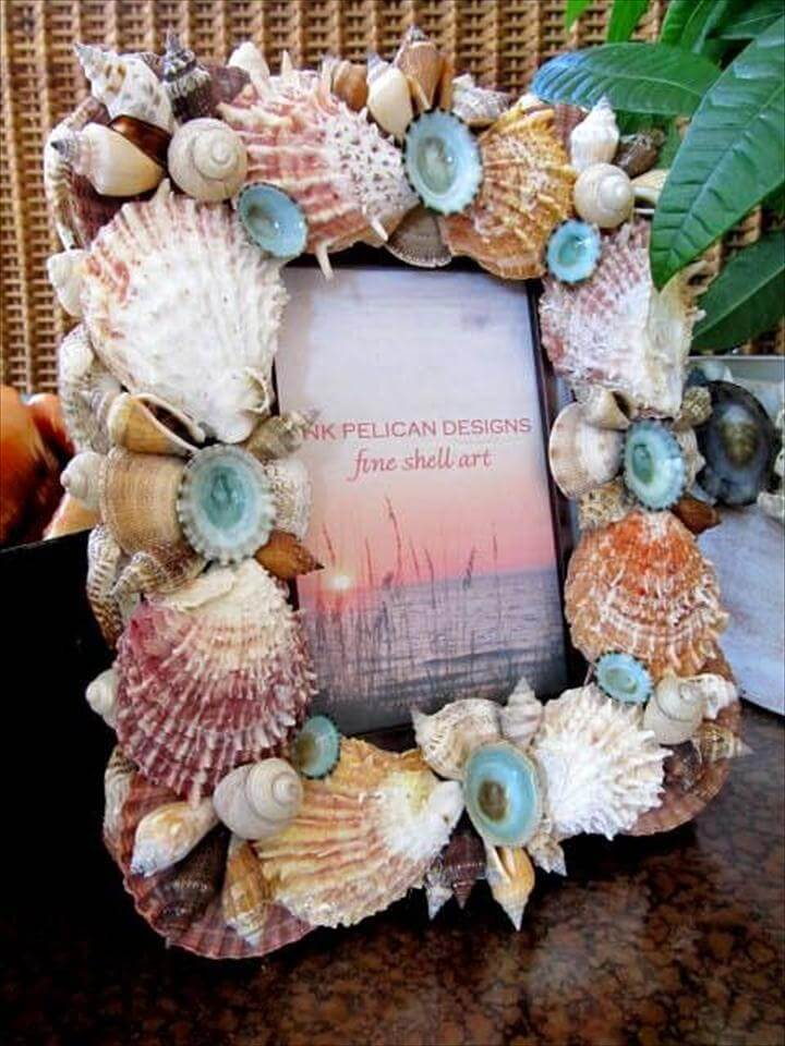 diy picture frame, handmade frame, sea shell frame