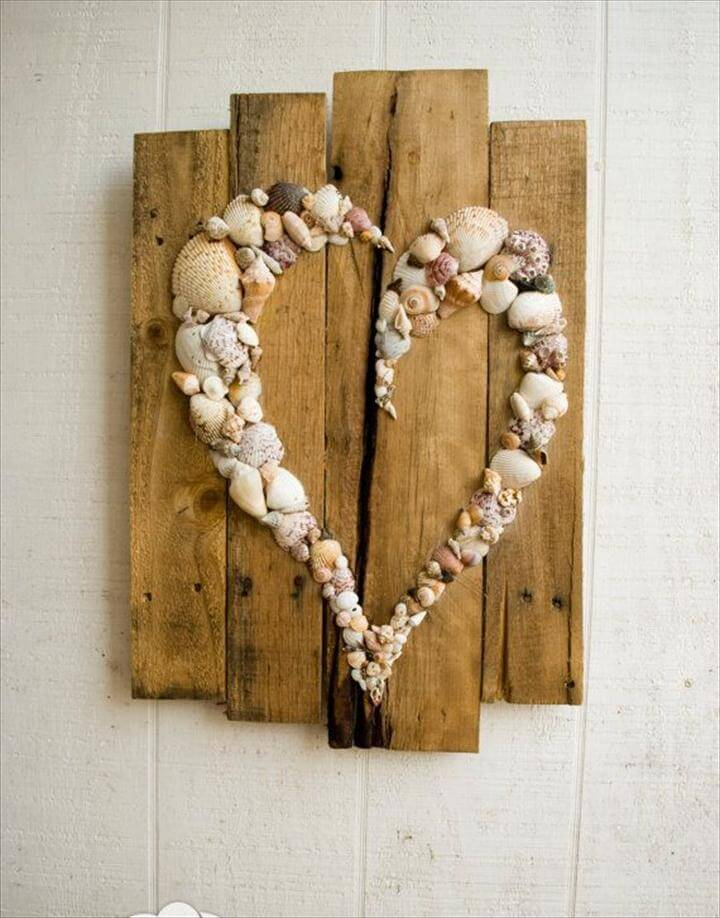 diy hearts, seashell hearts, diy wall art