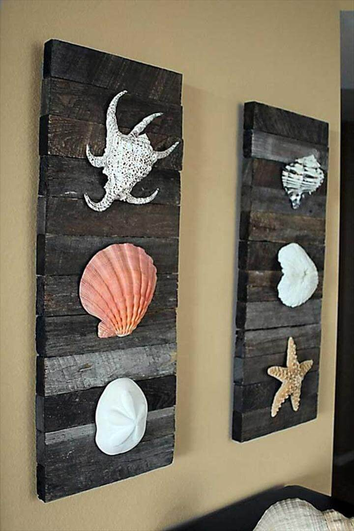Breezy Beach Decor Shells on driftwood for Coastal Decor.