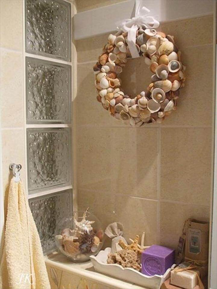 diy wreath, seashell wreath