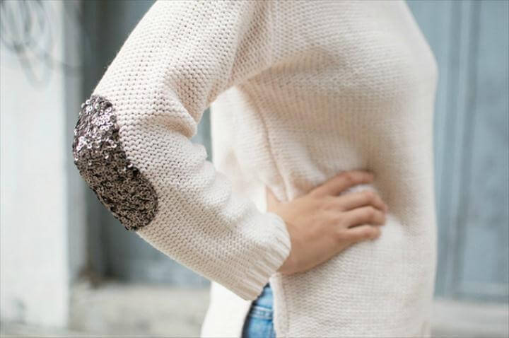 diy sequin elbow patch