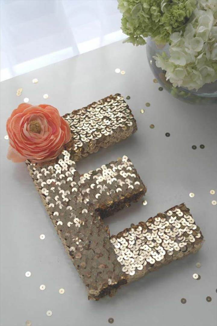 DIY Monogram Projects and Crafts Ideas -Sequin Monogram Letter- Letters, Wall Art,