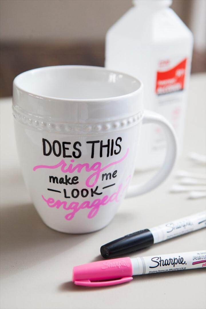 Holiday Coffee Mug, DIY Sharpie Paint Pen - Engagement Gift Mug