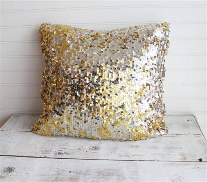 diy pillow, diy home decor, sequin pillow