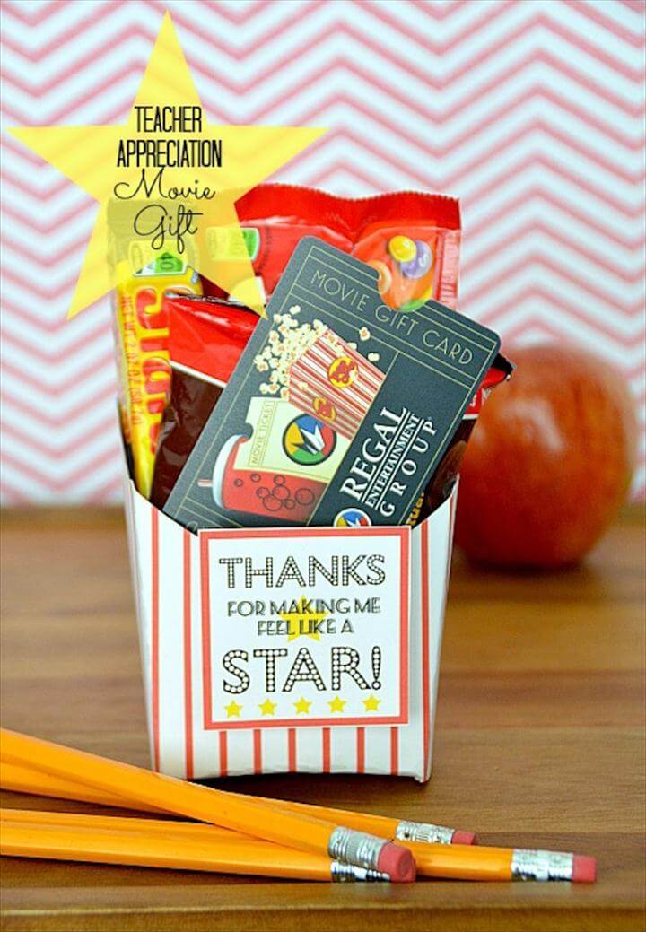 diy teache rgift, Movie Gift Card Printable