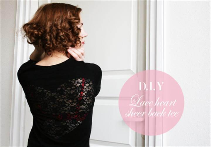 lace heart sheer back tshirt diy