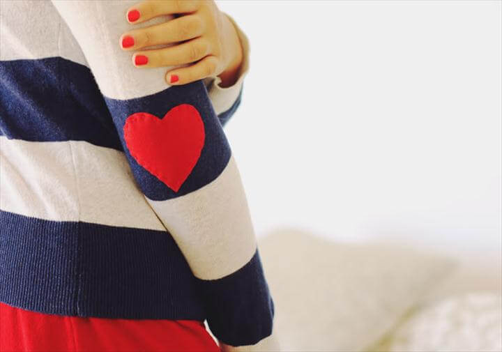 diy elbow patch, heart patch