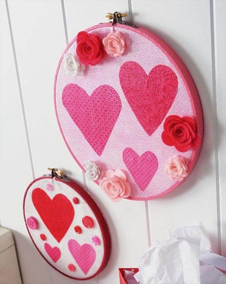 Valentine's Day embroidery wall hanging with heart motiff