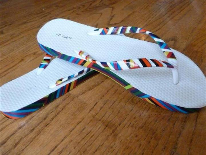 DIY Flip Flops : DIY Duct Tape Embellished Flip Flops