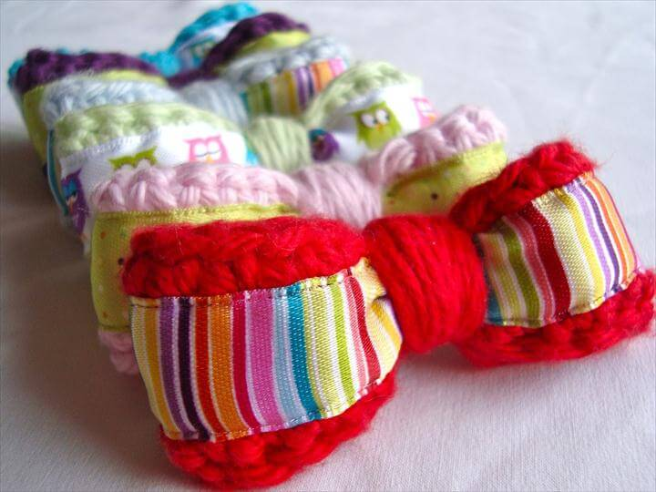 diy bows, crocheted bows, hair bows, diy bows, colorful hair bows