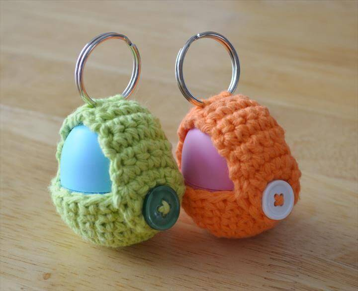 Keychain EOS Lip Balm Holder, Easy Handmade Fun Crochet Pattern Keychains