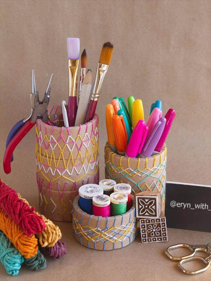 Embroidered Pencil Holder DIY
