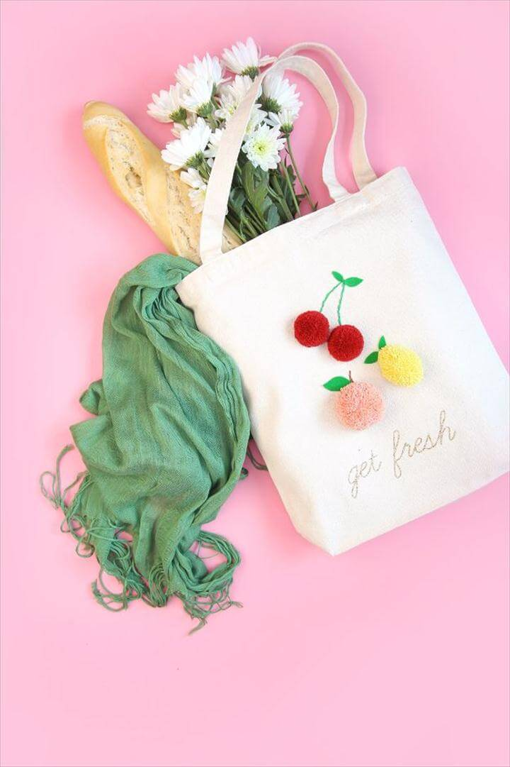 Free Embroidery Patterns - Embroidered Pom Pom Market Tote