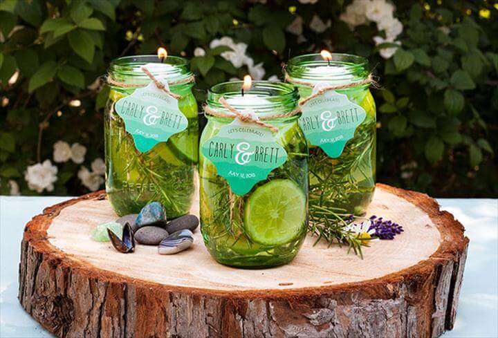 DIY Floating Citronella Candle with Personalized Favor Tags from Evermine