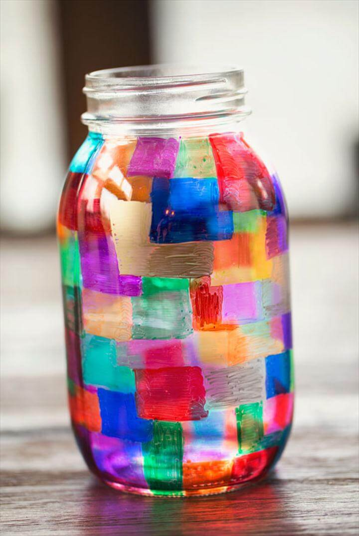 colorful sharpie mason jar